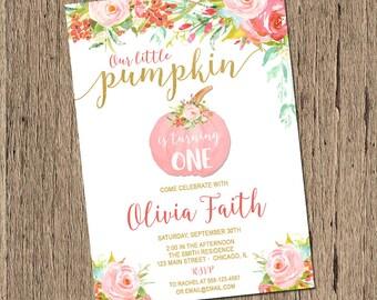 Fall Birthday Invitation - Pumpkin Birthday Invitation - Printable Fall Invitation - Printable Pumpkin Invitation, Little pumpkin invitation