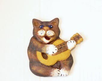 Happy Cat with a Guitar, Cat Ornament with Fragrance oil, Personalized Gift, Guitarists Singer Musician, Cat's figures Collection