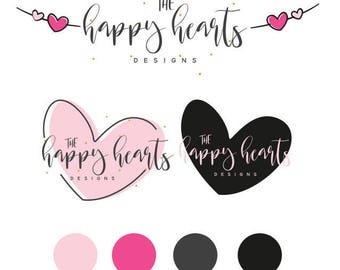 Hand-drawn Heart Logo  ,  Adorable Heart  Logo , Perfect For Your Business! Includes a submark/sticker!