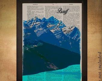 SALE-SHIPS Aug 22- Banff National Park Dictionary Art Print Canada Peyto Lake Alberta Wall Art Home Decor Gift Ideas Travel da1310