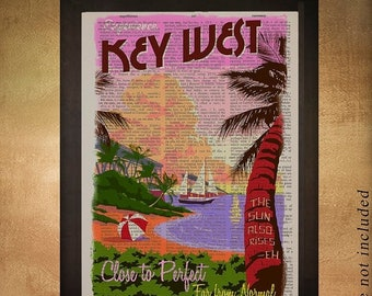 SALE  Ships April 5   Key West Florida Dictionary Art Print Miami Key