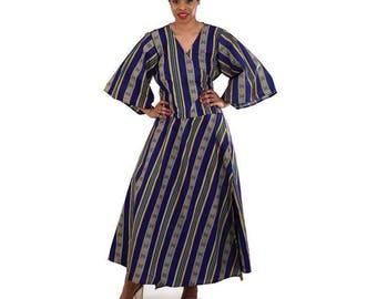 African Kente Print Wrap Dress