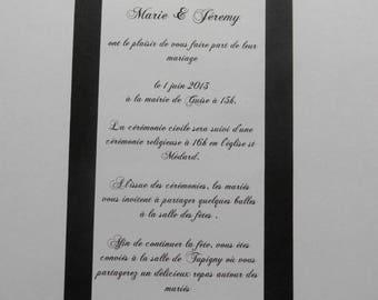 black and white baroque wedding invitation