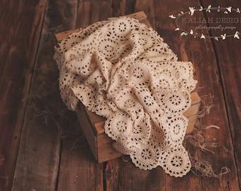 Vintage, Organic,Photography Prop, Lace, Layering Piece, Newborn, Girl