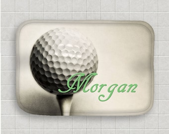 Golf Bath Mat Personalized Bath Mat Golf Ball Bath Mat Microfiber Mat