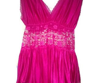 Vintage 80s  Lace Slip Vintage Pink Lace Chemise Lingerie 1980's VINTAGE  Women's Size M L Large