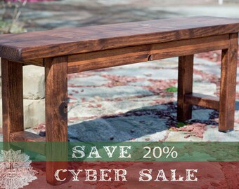 """CYBER SALE!! Entryway Bench 48"""", Wood Bench, Wooden Bench, Rustic Bench Finished in Red Oak Stain"""