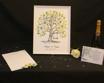 Personalised A3 Wedding Fingerprint Tree Inks Guestbook Dropbox Alternative Gift