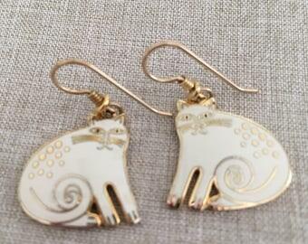 "Laurel Burch Vintage ""White"" Keshire Cat Dangle Earrings - Hard to Find"