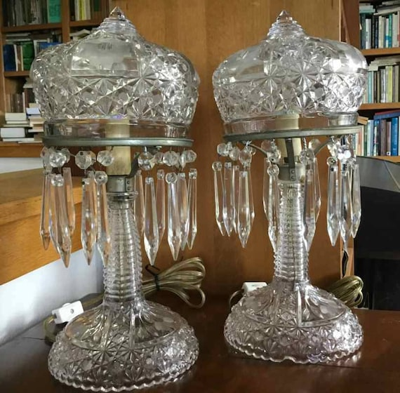 vintage art deco style glass boudoir or mantel lamps with. Black Bedroom Furniture Sets. Home Design Ideas