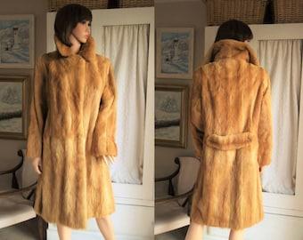Vintage Siberian Kolinsky Weasel Sable Fur Coat  Strawberry blonde Mink fur coat Full length real fur coat Ginger sable mink long fur coat
