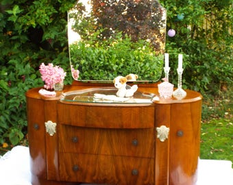 Figured Walnut Dressing table and mirror Antique Furniture  1930s Art deco dressing table Antique walnut drawers dressing table mirror