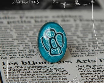 turquoise flower * handpainted * ring adjustable oval cabochon with original painted illustration