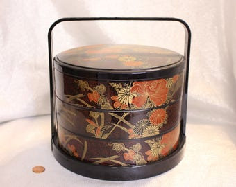 Japanese Bento box lunch box vintage Asian Black and red with Flowers