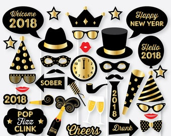 Instant Download, Happy New Year Photo Booth Props and Sign, New Years Eve Decoration, Printable Photobooth, New Year Printable (PBP.07)