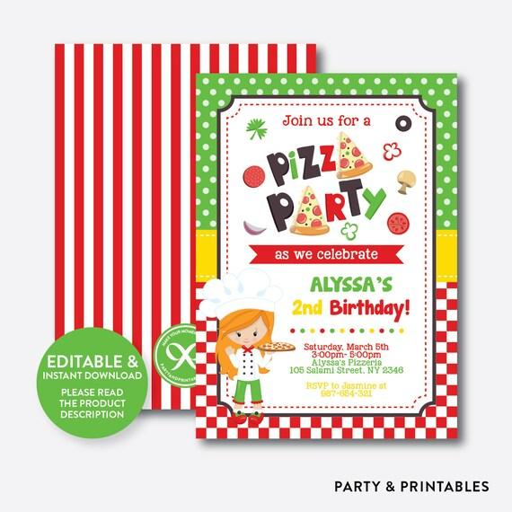 instant download editable pizza birthday invitation pizza party