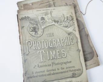 Photographic Times / Very Old Photo Magazines / 3 Large Format Issues / Dated 1836 / Scovill Manufacturing