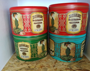 Tin cans the three Marie-boxes panettone-collecting advertising-furnishing kitchen-gift inauguration-pub furniture