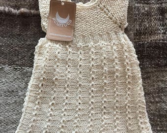Pure cotton dress for a baby girl. Hand-knitted. 9 months