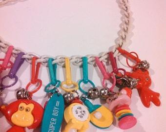 80s Charm Necklace  / Bubble Gum Charms / Plastic Charms Necklace / 80s Charm Necklace / CarnivalofFashion