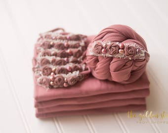 Dusty Rose Pearled Set: mauve pink baby headband; newborn stretch wrap; newborn photography prop; baby girl photo prop; baby girl headband
