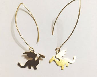 Dragon earrings, legendary creature,  fire-spewing, Reptilian, Avian, Mythology, Myth, Game of Thrones inspired tiny Minimalist earrings