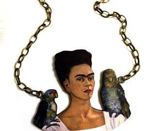Frida Kahlo, Me and My Parrots, Naïve art, Oil paint, Modern Art, Goth style, Big necklace,Mexican Artist Jewelry, Collar, Folk Art