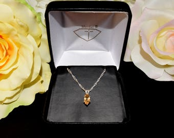 Genuine Ouro Preto, Brazil, Precious / Imperial Topaz, Sterling Silver Pendant and Chain.  Natural, Oval, Faceted Gemstone!  Chain Options.
