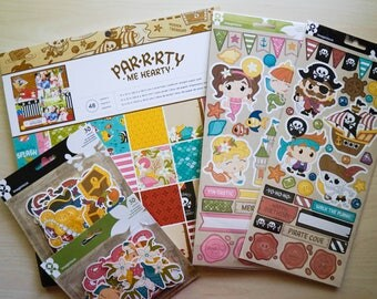 Pirate Party Me Hearty Paper Collection - 12 x 12 paper pad and 4 packs of embellishments