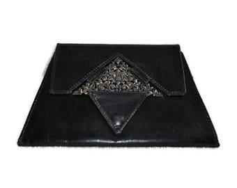1930's art deco leather clutch bag // vintage black leather handbag
