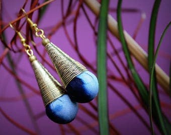 Drop earrings dangle metal cone and Indigo fabric