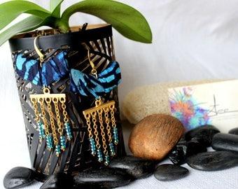 Earrings fall chain Batik fabric