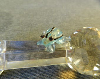 Single Translucent Light Blue and Black Striped Frog Lampwork Glass Bead - 20mm - Handmade - Toad - Nature - Aqua