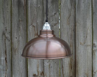 Aged copper Detroit hanging pendant light shade with polished fitting E27 bulb holder