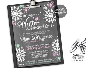 Winter ONEderland Girl Birthday Party Invite Invitation Wonderland One First Wintery Pink Mint Chalkboard Chalk White Snow Snowflakes Stars