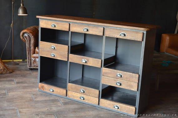 articles similaires meuble bar comptoir bois m tal style industriel sur etsy. Black Bedroom Furniture Sets. Home Design Ideas