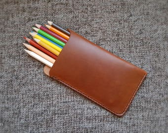 Leather pencil holder, pen case, leather case, pencil cover, leather pencil case, leather pencil case, pencil sleeve, leather gift