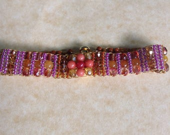 Handwoven Gemstone and Swarvoski Crystal Bracelet