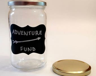 Adventure Fund - Adult Piggy Bank - Savings Jar - Money Box - Vacation Savings - Large Coin Bank - Travel Gift
