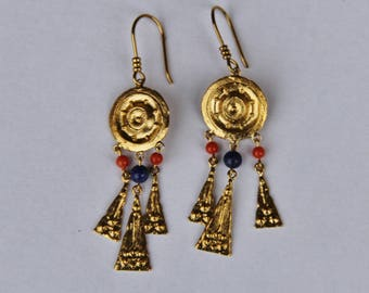 Coral, lapis lazuli and gold plated earrings