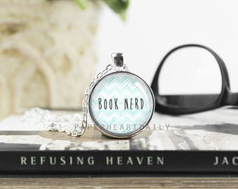 Book Nerd Necklace - Bookworm for Her - Book Jewelry - Bookworm Necklace - Book Lover Pendant - Book Gifts -  (B8524)