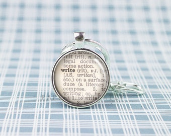 Writer Key Chain - Silver Writer Keychain - Dictionary Keychain - Author Gift - Storyteller - Writer Gift - Writer for Her -  (F5803)