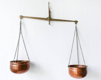 Vintage French copper hanging scale-decorative scales balance-Vintage decorative  scales-Collectible display