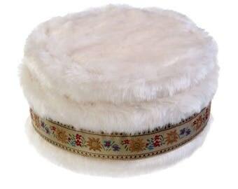 Faux Fur Hat with Tan Wildflower trim