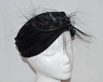 Vintage Mod Pillbox Hat - Black Velvet with Feather, 1960s