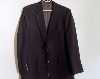 80s Mens Brown Sports Coat Jacket by Imperial by Haggar Size 42