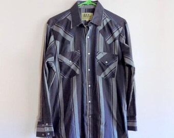 80s Cowboy Shirt, Ely Cattleman, Gray Plaid, Snap Buttons, Button Down, Country Western, 1980s, Hipster, Mens Vintage Clothing, Size 15 1/2
