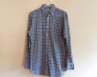 80s Plaid Button Down Geek Chic Shirt by Wedgefield, Size Small