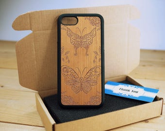 Butterfly Full Protection - Personalize  Wood iPhone case Wood iPhone 7 Case iPhone 6S Case wood iphone 6 case