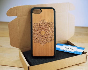 Mandala Center Full Protection - Personalize  Wood iPhone case Wood iPhone 7 Case iPhone 6S Case wood iphone 6 case